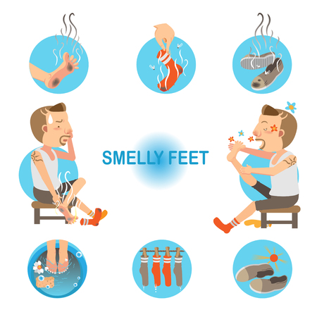 Illustration pour Cartoon man unpleasant odor of socks and sneakers on his feet. Vector illustration - image libre de droit