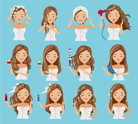 Illustration pour cute teenage girl is washing her hair, nourishing, caring and shaping her hair.Cartoon set of hair treatment procedure.Vector illustrations isolated on a blue background. - image libre de droit