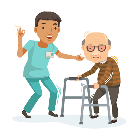 Illustration for Nurse helps her grandmother to go to the walker. Caring for the elderly. Vector illustration in a flat style - Royalty Free Image