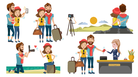 Illustration pour Couple travel relaxing on top of a hill. Traveling along mountains and coast, Take pictures together. Check in lobby hotel. The honeymoon concept with sweetness. Traveling to various places. - image libre de droit