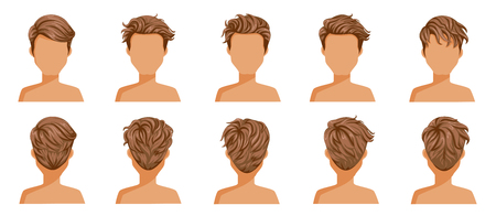 Ilustración de Hair blown man set. Wide view The hair is blown away. Front, rear, left, right. handsome hairstyle brown short hair of male.  trendy haircut. vector icon set isolated on white background. - Imagen libre de derechos