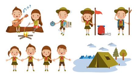 Ilustración de Scout honor character Set. Children hand in hand. hand gesture Camping. Boy playing guitar around the campfire. Kid studying a tour route map. camping tent. Roasting sausage on campfire. Funny camping  - Imagen libre de derechos