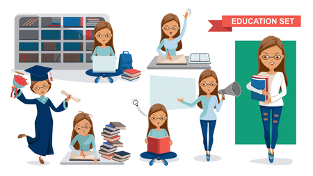 Illustration pour Student Women of Education set. Holding megaphone.  Graduation, reading in the library, classroom lessons, Using computer, Student activity concept. character design.Vector illustrations  isolated. - image libre de droit