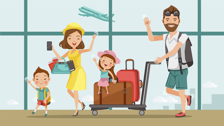 Illustration pour Family travel. Father ,mother, son and daughter at the airport.Happy family concept. Cartoon Asian Character Family, illustration, vector,Isolated from the background Airport - image libre de droit