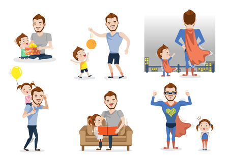 Ilustración de Father and son or daughter set. Having fun together. Playing with dad. Fatherhood concept. Role model and greatest mentor. Vector illustration Isolated on white background - Imagen libre de derechos