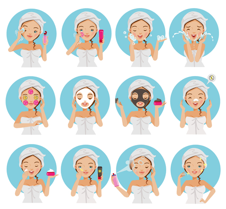 Illustration for Skin care young beautiful teenage girl touching her face, enjoying her clean skin. Girl cleaning and care her face with various actions, facial, healthy, touching her cheek and smiling vector set. - Royalty Free Image