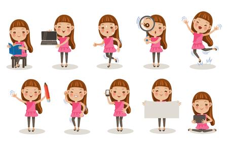 Illustration pour Little girl different pose, cartoon character set illustration. - image libre de droit