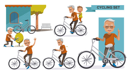 Illustration pour Cycling Older set. grandfather and Grandson. male Relax in the city bike, Leisure, activities, Landscaping, exercise, motion, Vector illustration. isolated on white background - image libre de droit