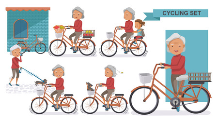 Illustration pour Cycling Older set. Grandma and little niece. female Relax in the city bike, Doggy, exercise, Go to work, go to the market, flower in a bicycle basket. Vector illustration. isolated on white - image libre de droit