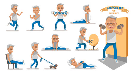Illustration for Senior exercise of male. exercising character design set. - Royalty Free Image