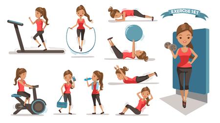 Ilustración de Exercise woman Health female are exercising character design set. Cute girl Full Body cartoon set. Isolated on white background. vector illustration - Imagen libre de derechos