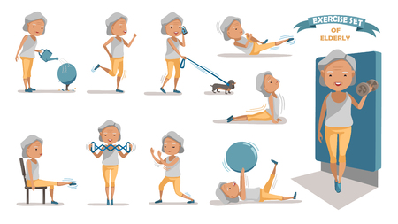 Illustration pour Senior exercise of female. exercising character design set. at home with a simple daily routine. - image libre de droit