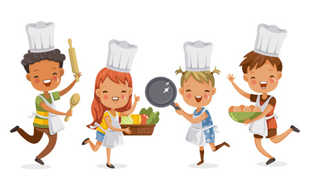 Illustration for Children cooking.boys and girls preparing the cooking equipment together happily. holds kitchenware,vegetables and eggs. concept is learning and practicing moments of childhood. - Royalty Free Image