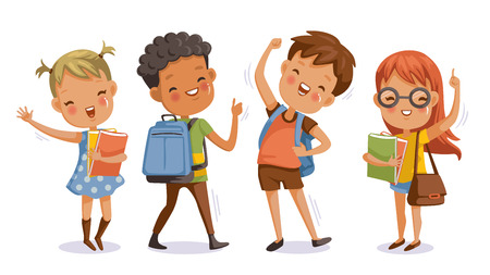 Illustration pour Back to school. boy and girl,With the thumb up to the hand that symbolic hand.Kids and friends at school on the first day of school.Children with student bags and books.cute character.Happy smile. - image libre de droit