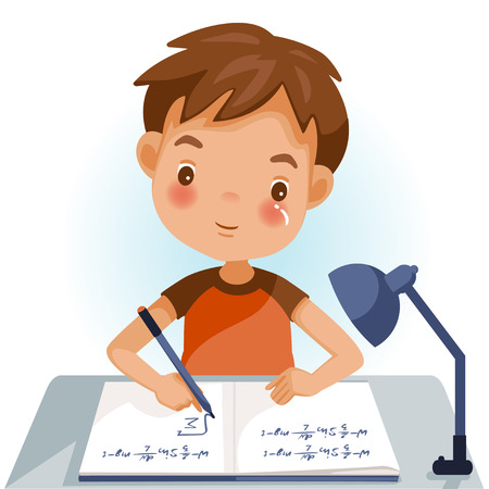 Illustration pour Boys are writing, kids doing homework, maths at home. Cartoon cute little boy in red shirt Siting on the desk. The concept of learning age - image libre de droit