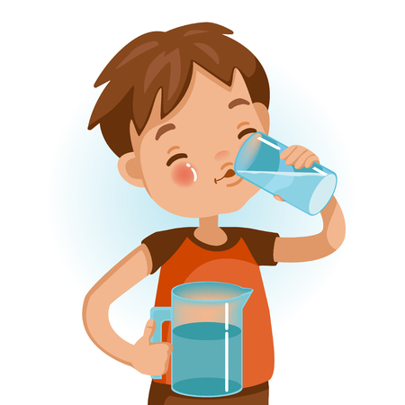 Vektor für Cute boy in red shirt holding glass of kid drinking water. Emotionally be smile. Healthy concepts and growth in child nutrition. - Lizenzfreies Bild
