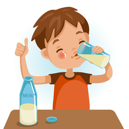 Vektor für Cute boy in red shirt holding glass of  kid drinking milk.Thumbs up. Emotionally. Healthy Concepts and Growth in Child Nutrition. - Lizenzfreies Bild