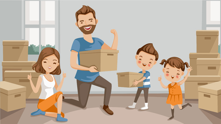 Illustration for Family moving packing and unpacking boxes, husband and wife, son, daughter, celebrating or exhausted at the end of packing. cartoon character parents and lovely children. Vector illustration isolated. - Royalty Free Image