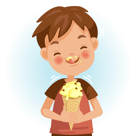 Ilustración de Boy eating ice cream. Emotional mood on the child's face feels good. Delicious and very happy. Licking the ice cream on the cheeks. Cute Cartoon In red shirt - Imagen libre de derechos