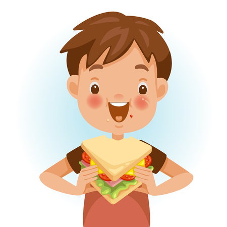Illustration for Boy eating sandwich. Emotional mood on the child's face feels good. Delicious and very happy. Good sandwich bites. Cute cartoon in red shirt - Royalty Free Image