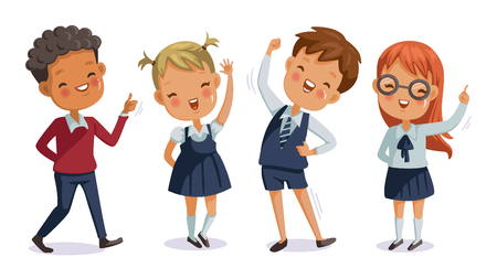 Photo pour Back to school. boy and girl, children uniform.cute character. Happy smile. - image libre de droit