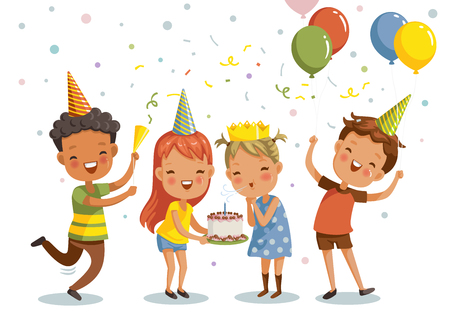 Illustration pour Children birthday party. Happy group of girls and boys having fun together. Vector illustration isolated white background. - image libre de droit