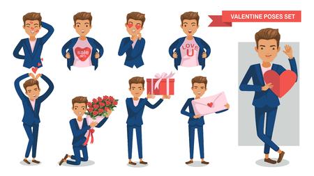 Ilustración de Valentine Man poses set. Lipstick on the face, megaphone, Heart heart, gifts, confession of love, symbol, holding a bouquet, envelope, Hands up, Valentines offers, concept of love, happiness of male - Imagen libre de derechos