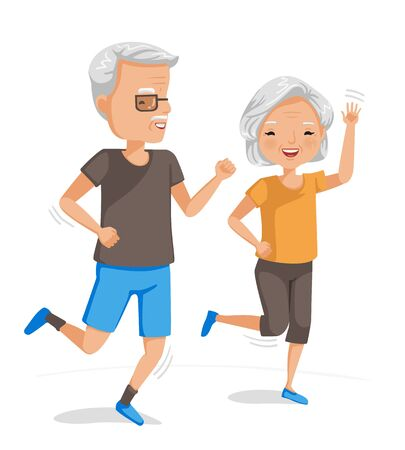 Illustration pour Couple elderly running together. Exercise of senior. Portrait of handsome and beautiful grandmother and grandfather doing health care activities. Vector illustrations isolated on white background. - image libre de droit