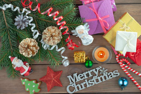 Photo for Merry Christmas, postcard with gifts and Christmas decorations. - Royalty Free Image