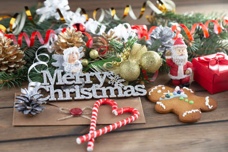 Photo pour Merry Christmas, postcard with gifts and Christmas decorations. - image libre de droit