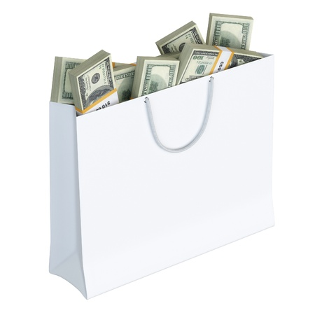 White paper bag full of money  isolated on white background version 2の素材 [FY31016572951]