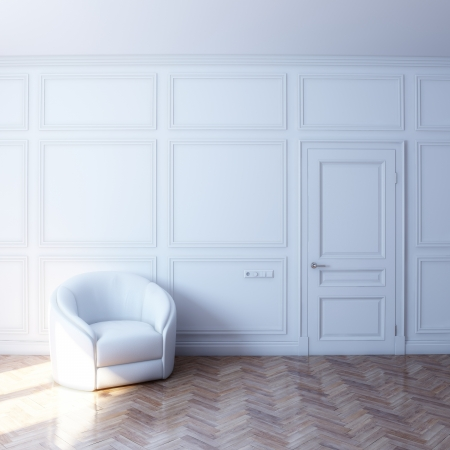Photo for new white room with white leather chair in the sun - Royalty Free Image