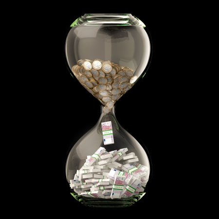 Euro Money In Hourglass  Conceptual Picture Of Successful Business  Isolated On Black