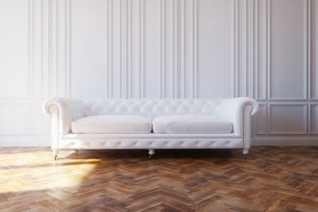 Photo pour White Luxury Leather Sofa In Classic Design Interior - image libre de droit