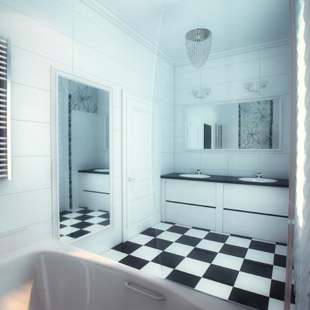 Photo pour Beautiful Large Bathroom in Luxury Home - image libre de droit