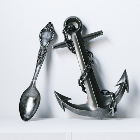 Vintage metallic anchor and silver spoon on white surface . 3D render