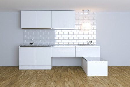 3D Render  White Contemporary Kitchen in White Interior