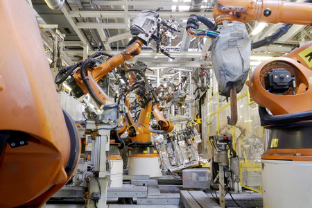 Welding robots in car production