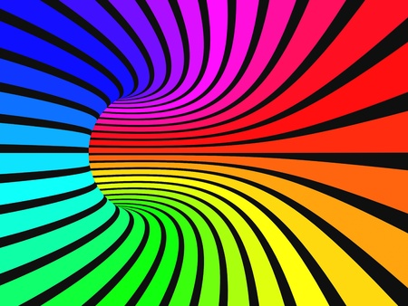 Colored parallel rainbow stripes image - produced with 2D and 3D software