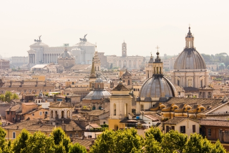Rome overview with monument and several domes