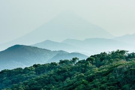 Layered hills with Mount Kaimon (Kaimondake) in the background