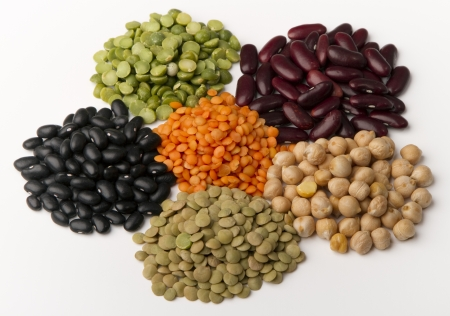different species of legumes in groups, isolated on white.