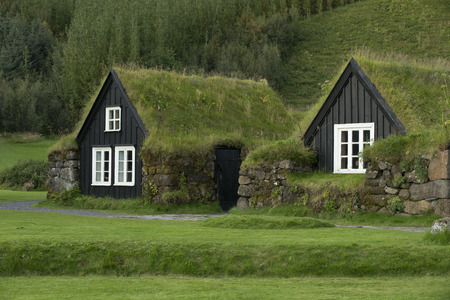 Traditional iclandic houses with grassy roofs.