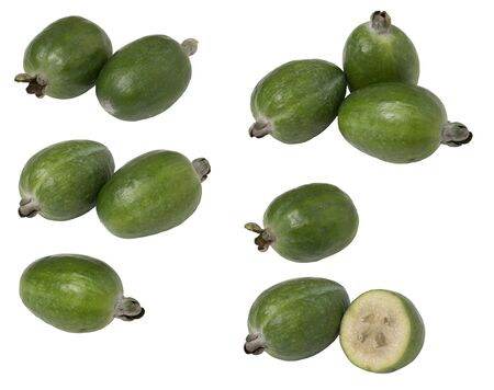 Photo pour Set tropical fruit feijoa whole and cut in half, isolated on white background. - image libre de droit