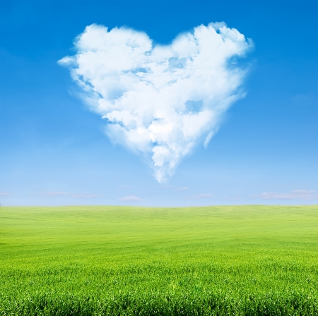 field of green grass over blue sky with clouds in shape of heart
