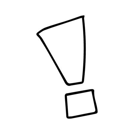 Exclamation mark. Grunge doodle sketch exclamation marks vector. exclamation marks illustration on white background