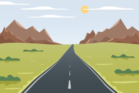 Illustration for Long road vector illustration, mountain, grass and bushes view, way with good weather - Royalty Free Image
