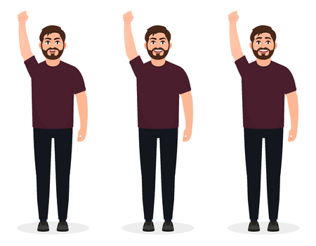 Illustration for Bearded man shows gesture of protest, Human with arm up, character in a flat style - Royalty Free Image