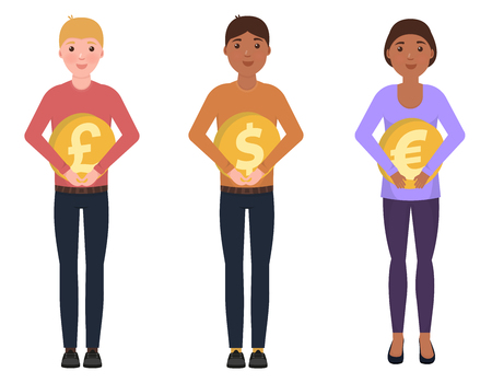 Illustration for People hold coins, dollar, euro, pounds sterling, happy characters in a cute style - Royalty Free Image