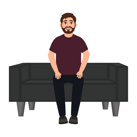 Illustration for A man sits on a sofa, a bearded smiling man waits on a soft sofa vector illustration - Royalty Free Image